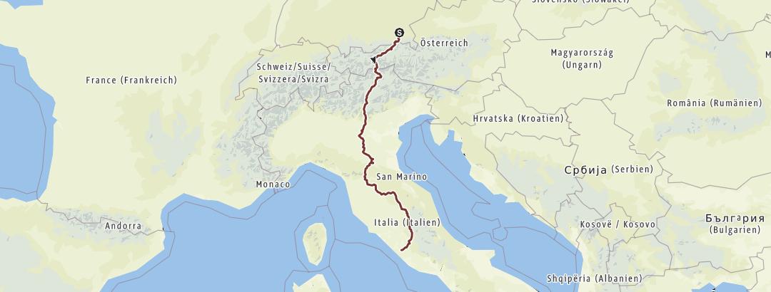 מפה / Pilgerweg nach Rom