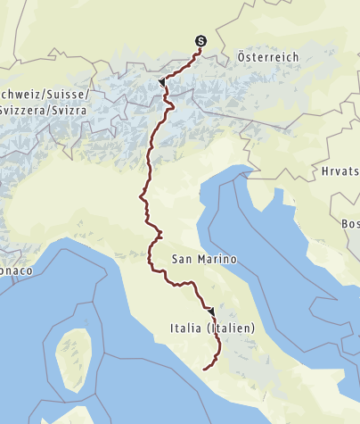 Hartă / Pilgerweg nach Rom
