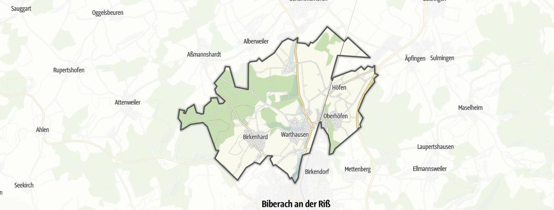 Mapa / Rutas en bici de larga distancia en Warthausen