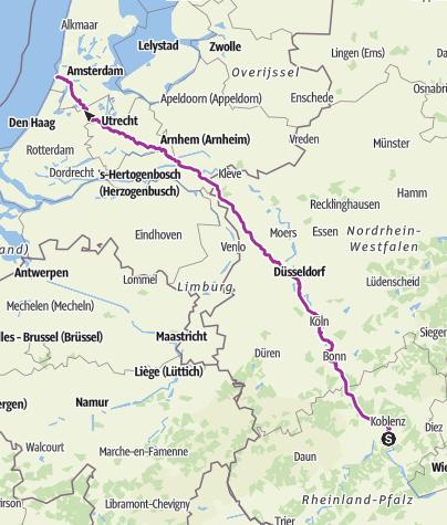 Karte / ab Koblenz Bloomendaal