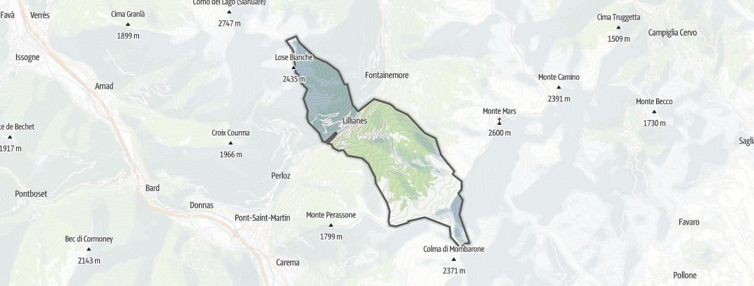 Kartta / Vuoristovaellusreitit kohteessa Lillianes