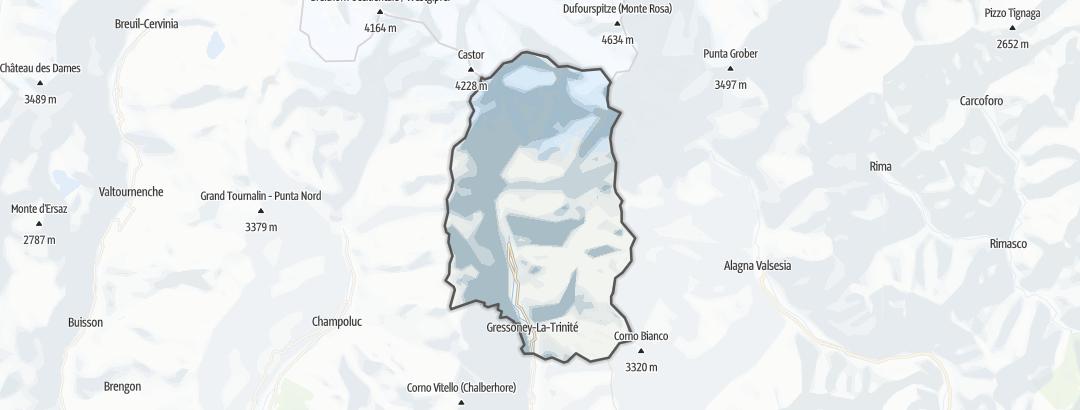 Kartta / Vuoristovaellusreitit kohteessa Gressoney La Trinité