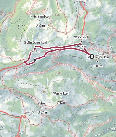 Karte / Gipfelwanderung zum Ochsenkopf bei Bolsterlang