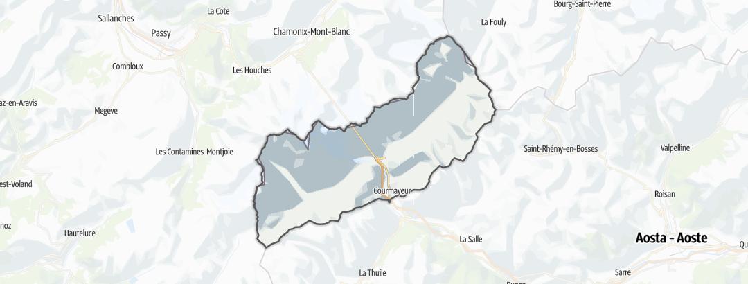 Kartta / Vuoristovaellusreitit kohteessa Courmayeur
