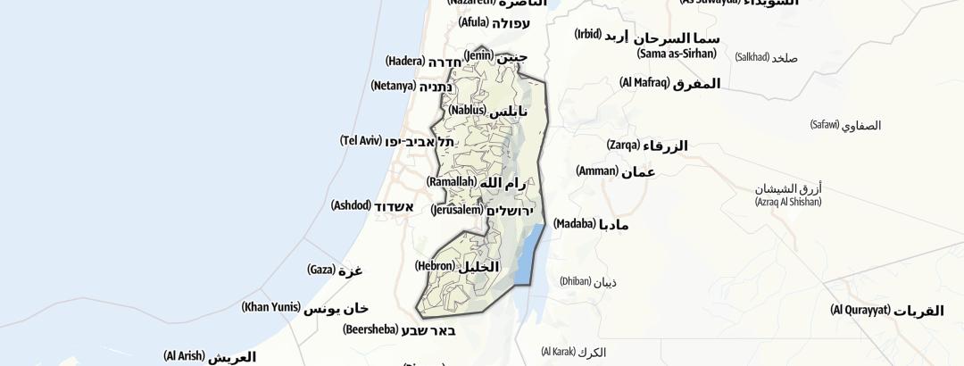 Hartă / Trasee de motocicletă in Cisiordania