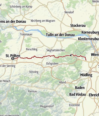 Karte / St.Pölten - Wien kürzeste Variante