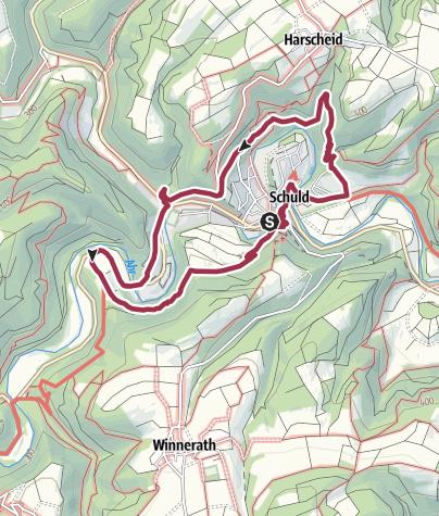 """Karte / gr. Rundwanderweg Nr. 1  """"um Schuld"""""""