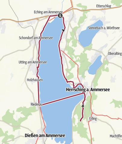 Karte / Starnberger Fünf Seenland Ammersee Tour (Stegen/Herrsching/Riederau/Stegen