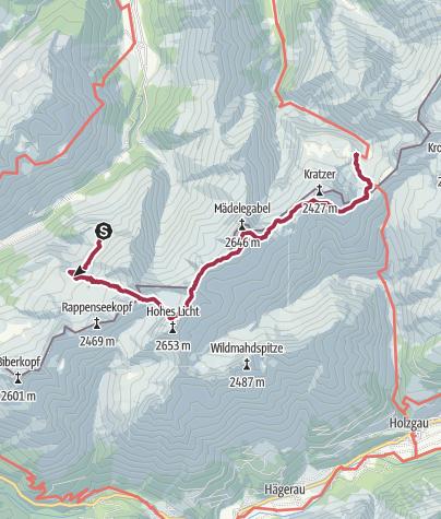 Karte / Oberstdorfrunde - Tag III: Enzianhütte - Kemptner Hütte