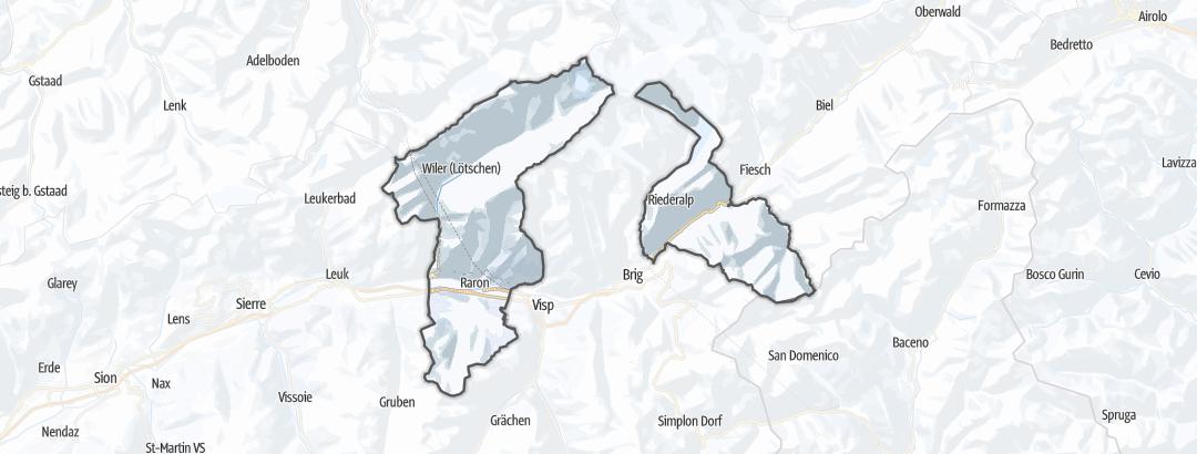 Mapa / Zimní pochody v oblasti Raron