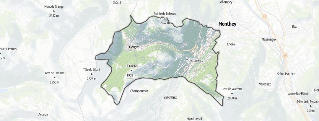 Térkép / Túrázás,  Troistorrents területén