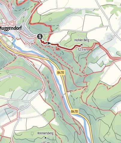 Karte / Felsensteig (Braun-Kreuz) ~ von Muggendorf auf´s Hohe Kreuz