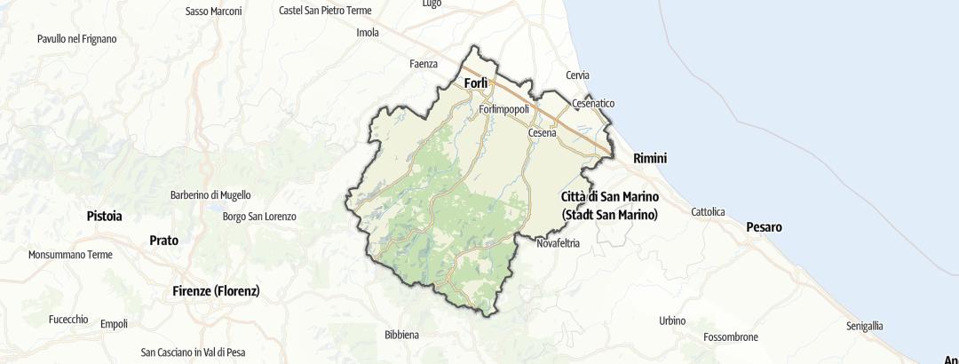 Térkép / Kerékpártúra,  Forlì-Cesena területén