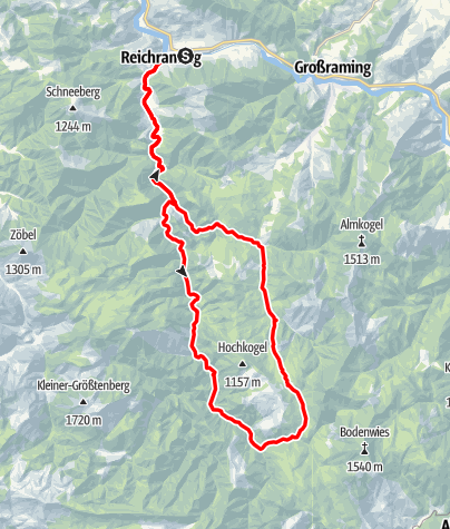 """Karte / """"Auf den Spuren der Waldbahn"""" ab Reichraming, Radtour"""