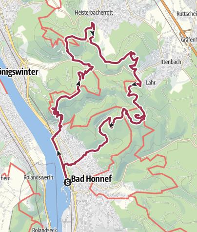 Karte / 7 auf einen Streich (offizielle Langstrecke) Siebengebirge