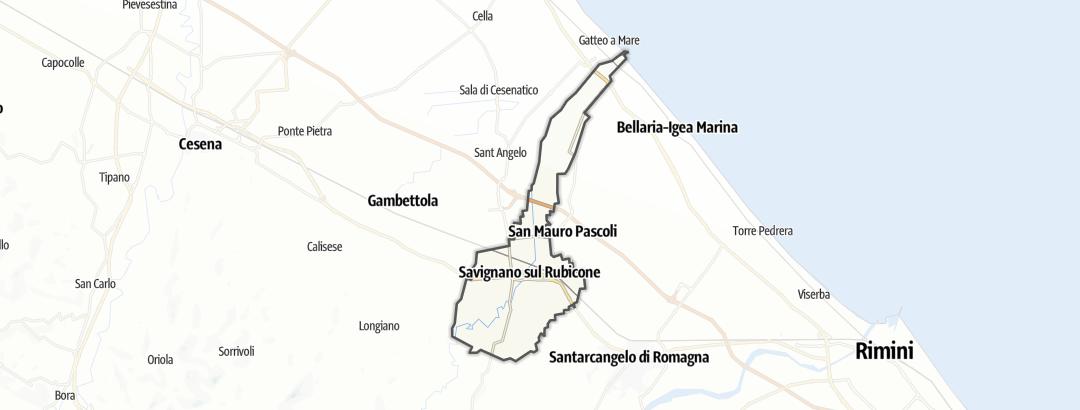 Mapa / Rutas en bicicleta en Savignano sul Rubicone