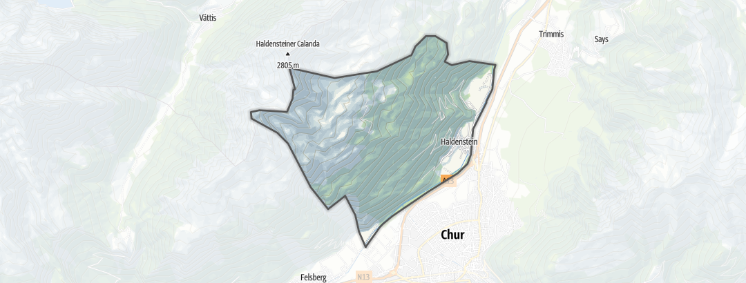 Kartta / Maastopyöräilyreitit kohteessa Haldenstein