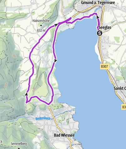 Karte / Tegernsee Triathlon 10km Laufstrecke olympisch