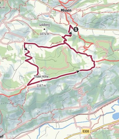 Map / Hundewanderung im Allgäu: Tuffenmoos, Thaler Höhe, Pfarralpe von Missen