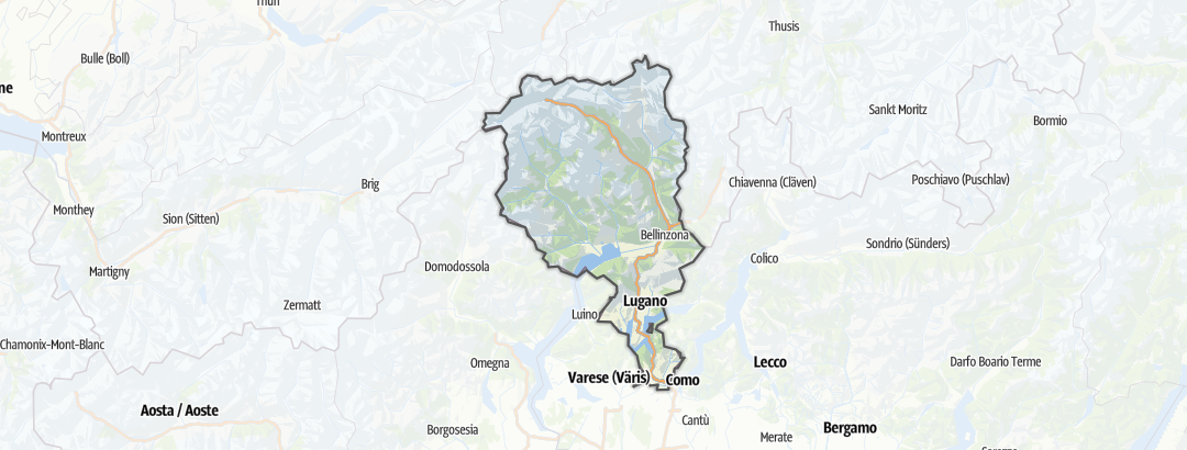 Map / Long-distance hikes in Ticino