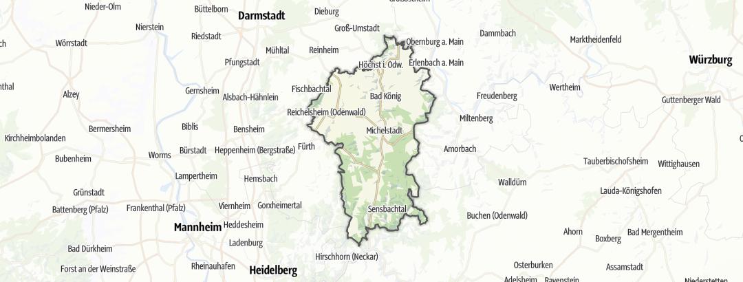 Karte / Wanderungen im Odenwaldkreis