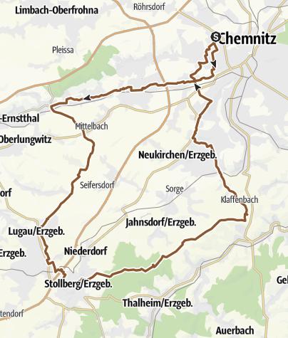 Karte / Radtour Chemnitz-Lugau-Stollberg-Eisenweg