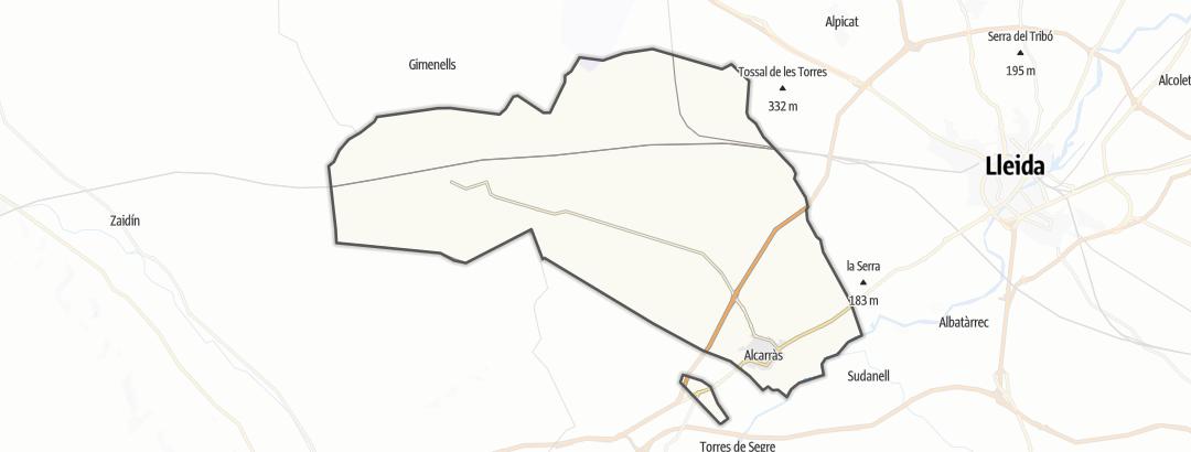 Mapa / Percursos de peregrinação em Alcarràs