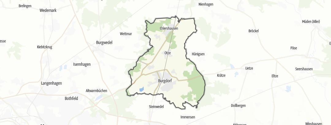 Kartta / Maantiepyöräilyreitit kohteessa Burgdorf