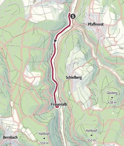 Carte / Flache Tour von Marxzell nach Frauenalb