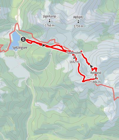 Karte / Taubenstein, Rotwandueberschreitung