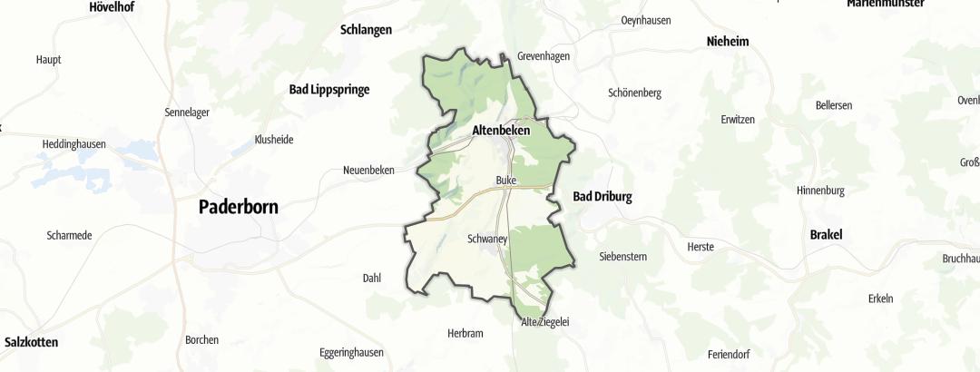 Térkép / Országúti kerékpár,  Altenbeken területén