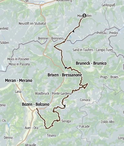 Karte / Alpencross von Mayrhofen nach Bozen (2015)