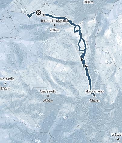 """Cartina / Monte Antelao (3.264 m) - il """"Re delle Dolomiti"""""""