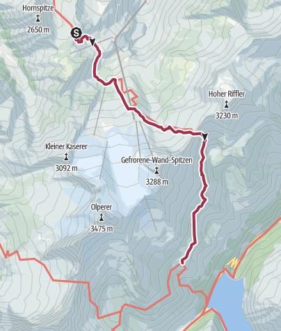 Karte / 10 Tuxerjoch Haus Olperer Hütte