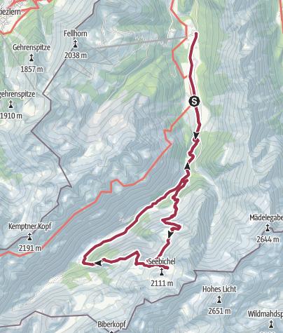 Karte / Birgsau - Petersalpe - Enzianhütte - Rappenseehütte - Schwarze Hütte - Feldhorntalstation