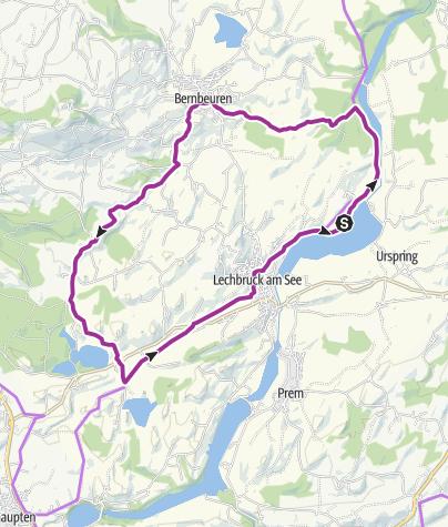 Karte / Familien Radwandertour entlang des Auerberges