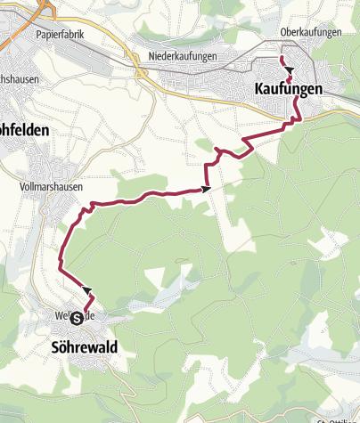 Karte / Kassel-Steig links herum: W 7 von Wellerode nach Oberkaufungen