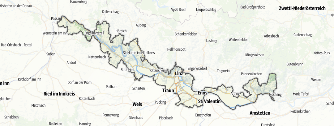Mapa / Poutě v oblasti Donau-Oberösterreich