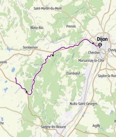 Karte / Von Dijon nach Châteauneuf-en-Auxois