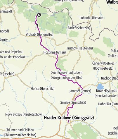 Karte / 1. Etappe Spindleruv Mlyn - Hardec Kralove (Königsrätz)