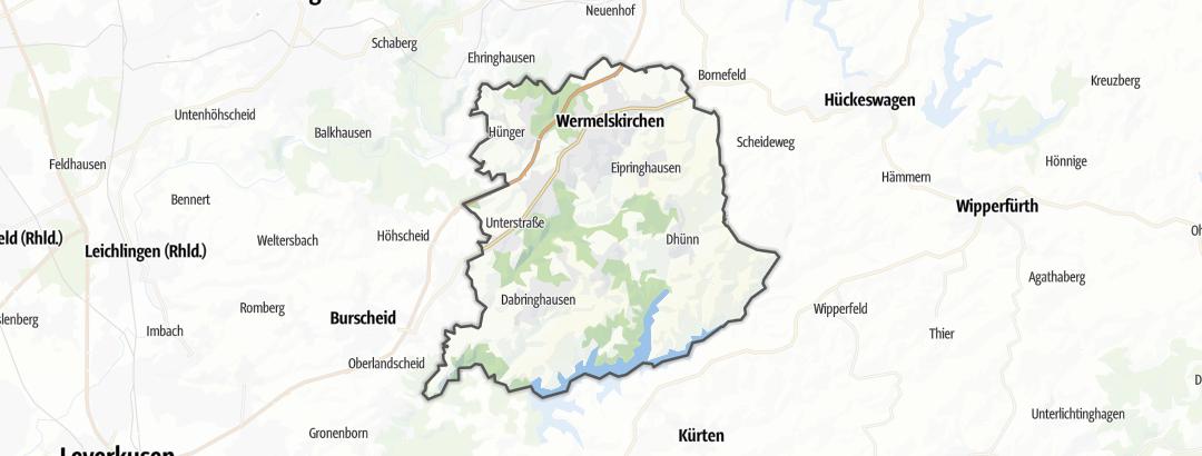 Mapa / Dálkové pochody v oblasti Wermelskirchen