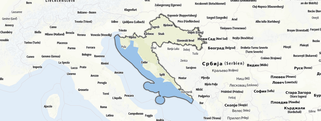 Carte / Refuges - Croatie