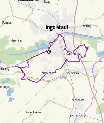 Karte /  12. Juli 2015 Sonntagsradeln - Vororte Ingolstadts