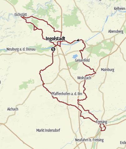 Karte / 19. Juli 2015 Rollertour mit den Heideckern nach Freising