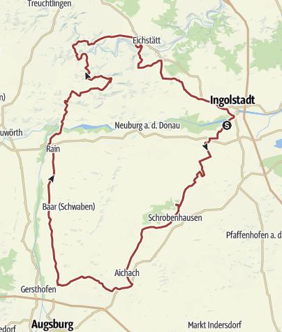 Karte /  25. Juli 2015 Rollertour nach Rain am Lech