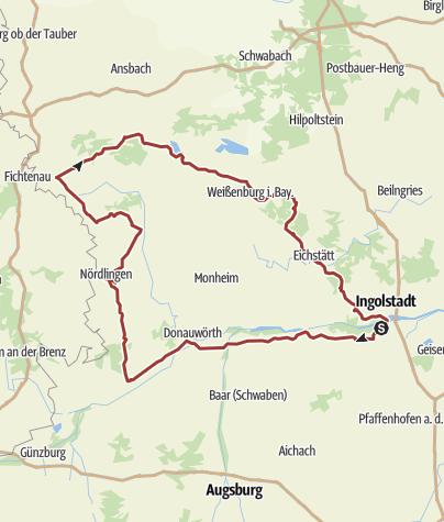 Karte /  30. Juli 2015 Rollertour nach Dinkelsbühl