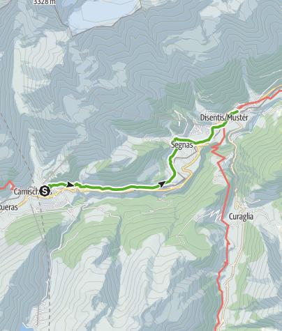 Map / Mit Kinderwagen von Sedrun nach Disentis