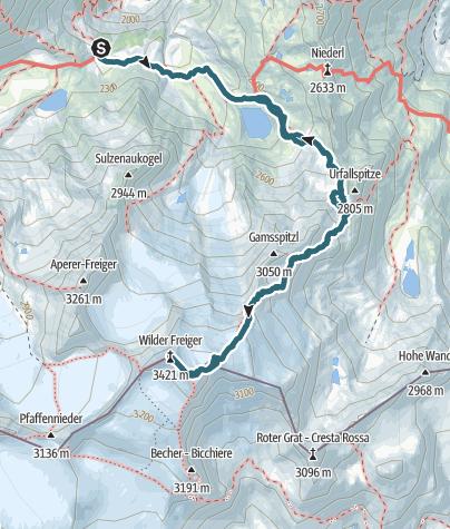 Karte / Sulzenauhütte - Freiger (Nachbereitung August 2015)