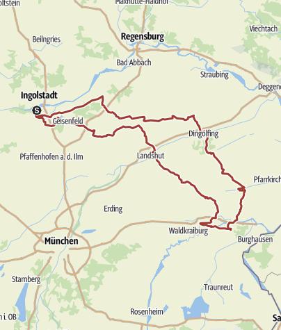 Karte /  9. August 2015  Rollertour nach Altötting