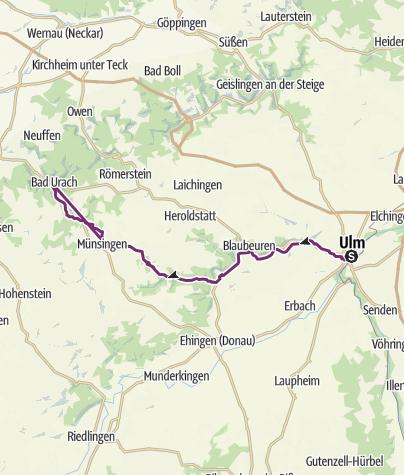 Map / Vom Ulmer Münster nach Bad Urach